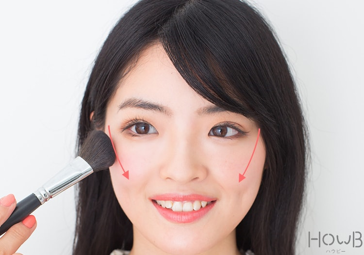 美人顔メイクプロセス チークの入れ方