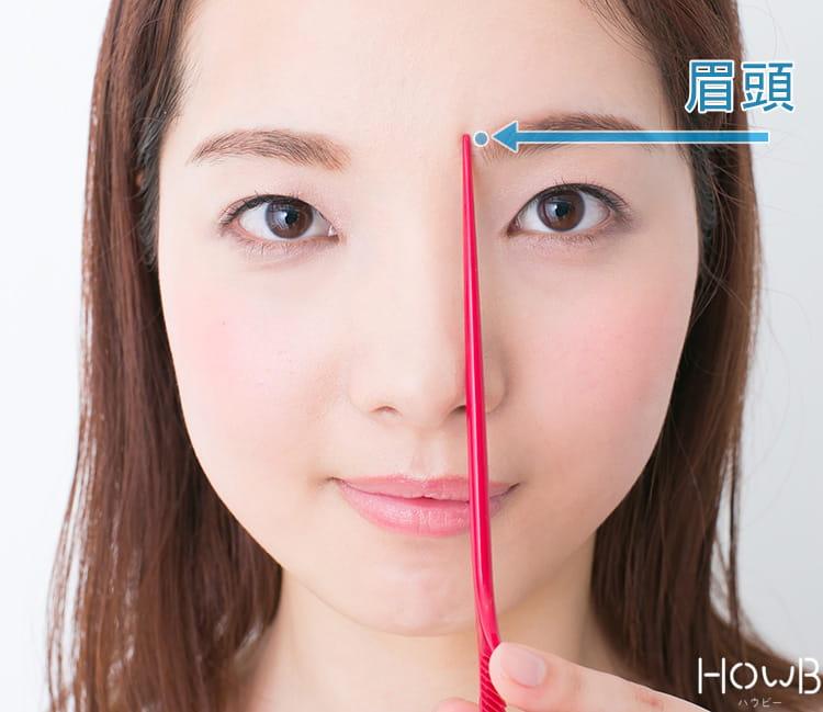 眉頭は小鼻から垂直に伸びた延長線上に