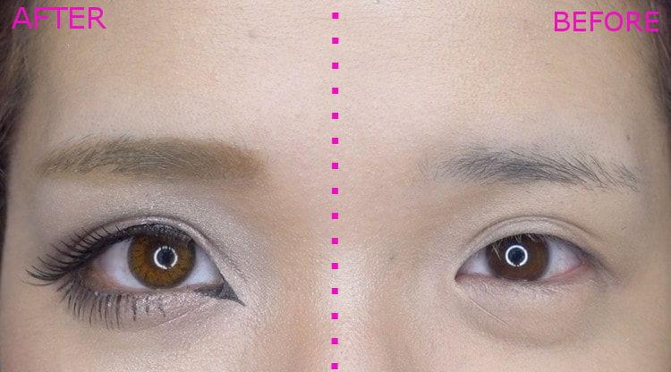 ハーフ顔メイク AfterとBeforeの比較
