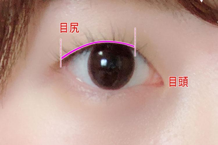 タレ目アイラインメイクのプロセス 黒目の内側から目尻にかけて細く引く 目元アップ