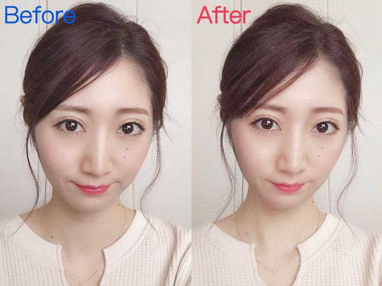 理奈ちゃんのメイク前の顔とメイク後の顔の比較