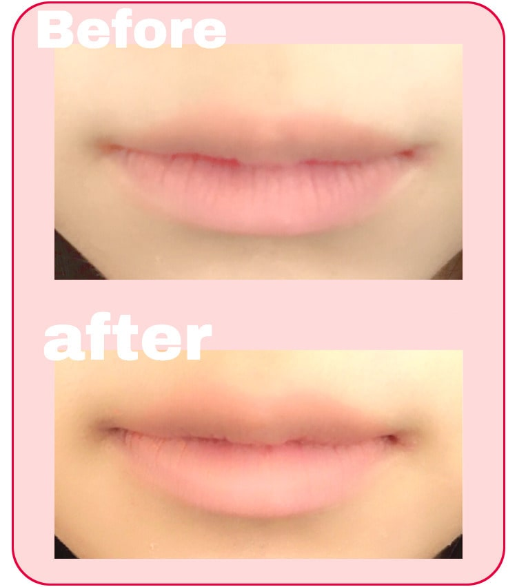 口元アップ メイクプロセス ファンデーションで唇の色を消す
