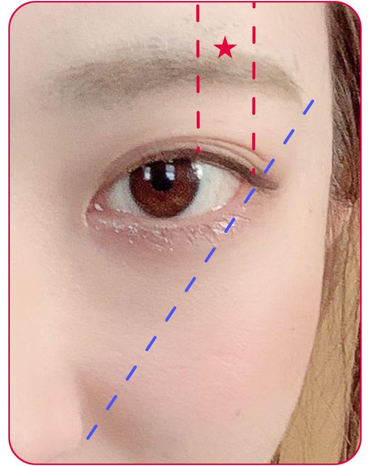 立体小顔メイクのプロセス アイブロウで眉を描く