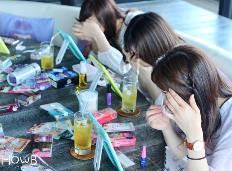 アイプチを試す、彩佳ちゃん、京香ちゃん、Airiちゃん