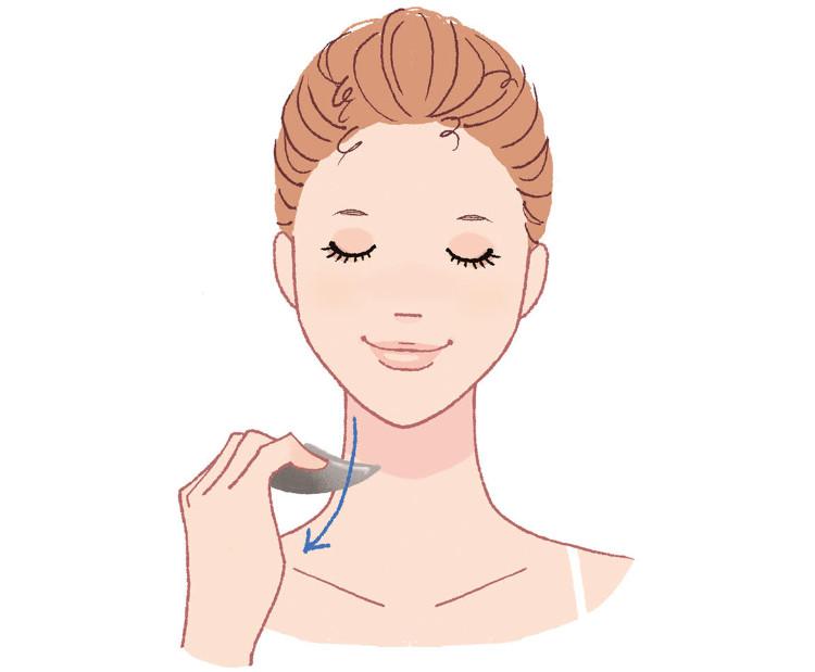 かっさを使って首から肩のマッサージをするイメージ