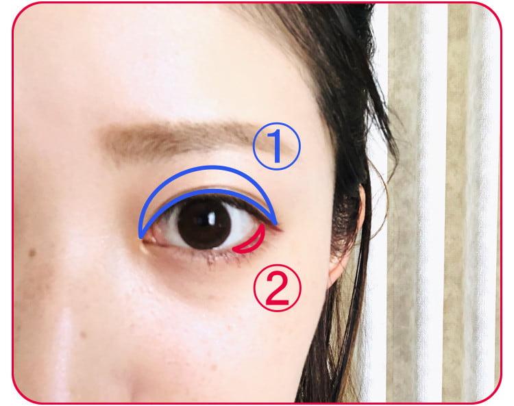 立体小顔メイクのプロセス アイシャドウをのせる