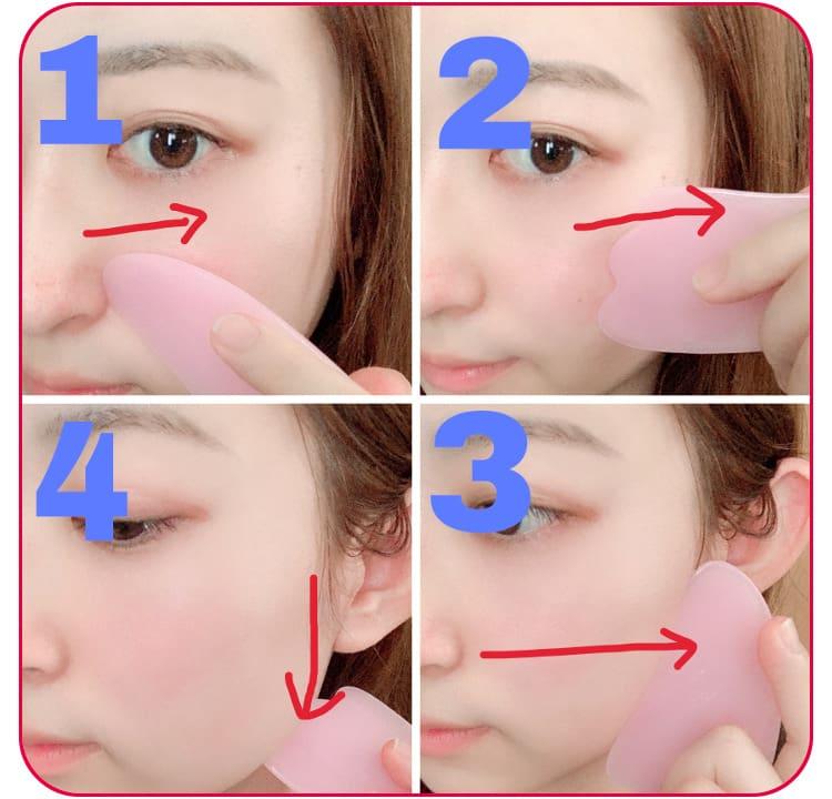 小顔マッサージのプロセス 小鼻の横→頬→耳の付け根→首の順に顔のリンパを流す