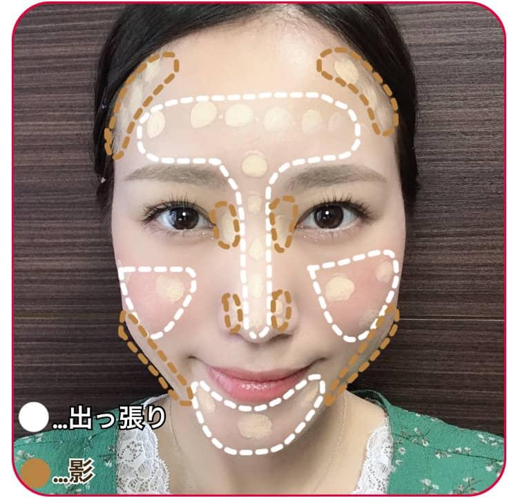 小顔メイクのプロセス ファンデーションを顔に塗る