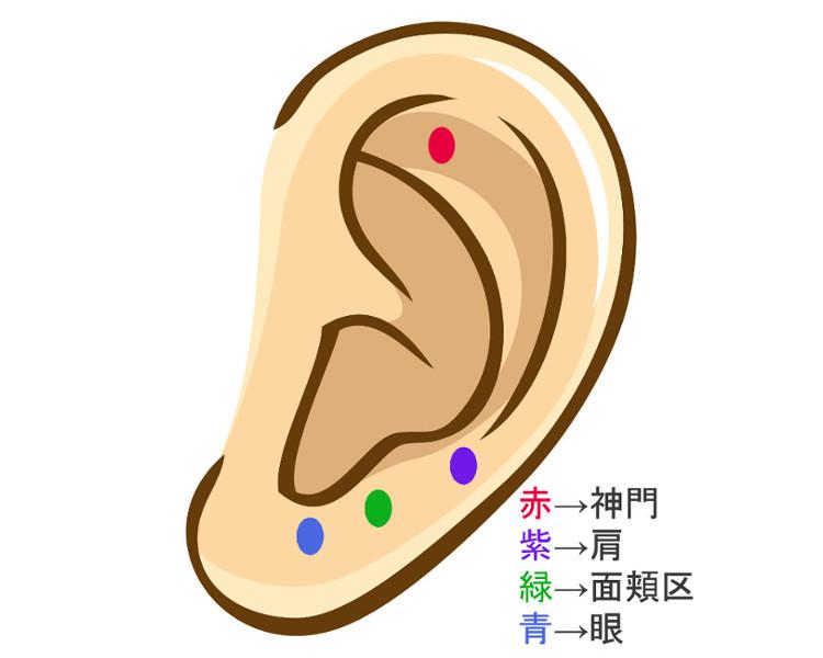 耳のイラスト ツボを押す場所
