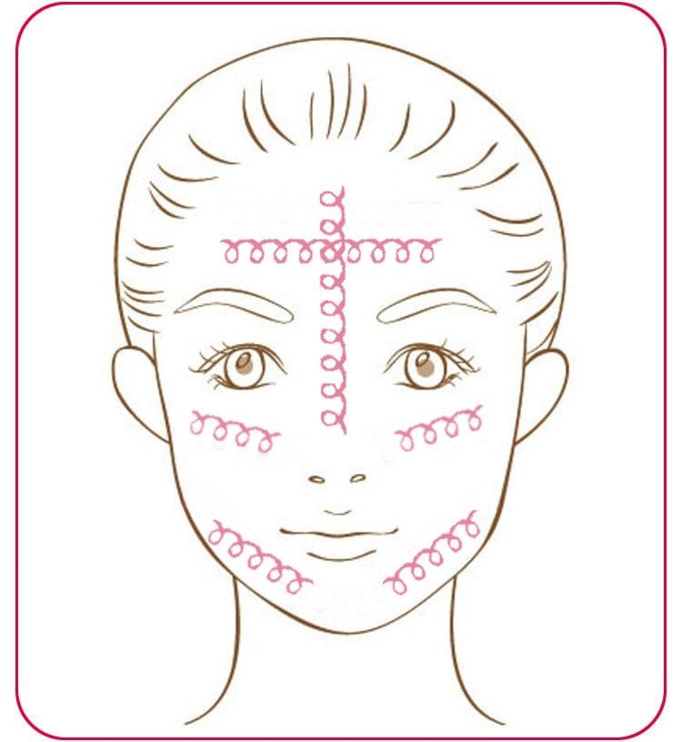 顔のイラスト Tゾーン、Uゾーンのクレンジング