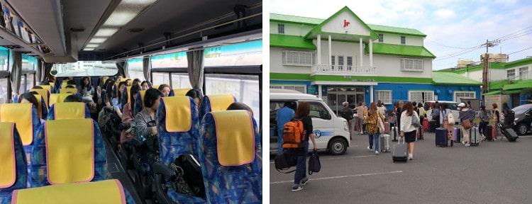 貸し切りバスに乗る参加者 合宿所へ向かう参加者