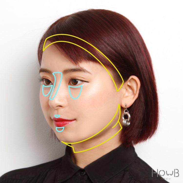 小顔メイクのプロセス シェーディングとハイライトをいれる