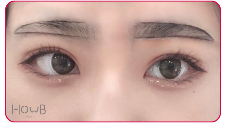 太眉メイクのプロセス 眉毛の形を形取る
