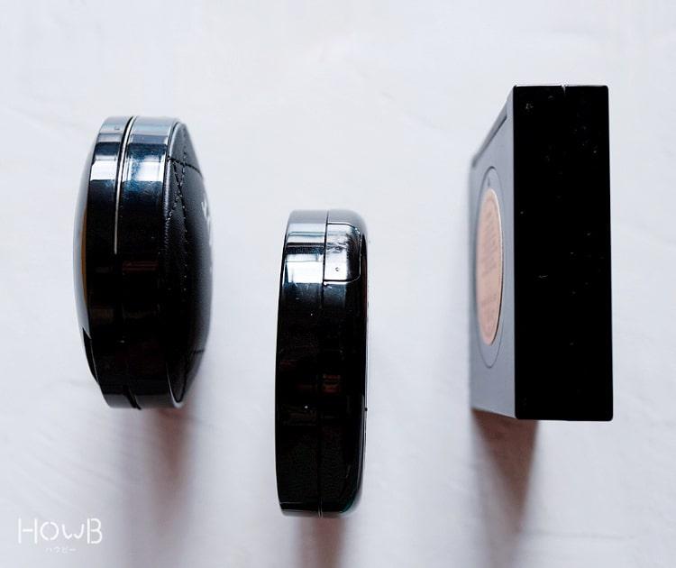 クッションファンデの厚み比較