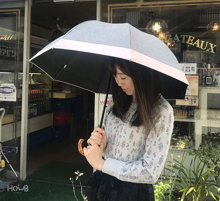 ぇっかちゃん 日傘をさす