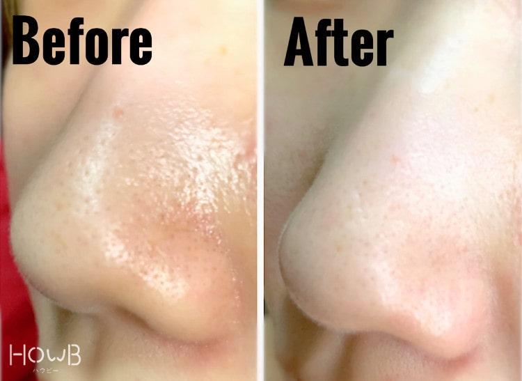 洗顔前と洗顔後の比較